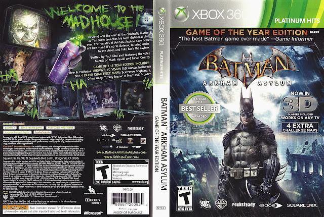 Capa xBox360 BATMAN ARKHAM ASYLUM GAME OF THE YEAR EDITION