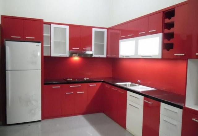 dapur cantik warna merah