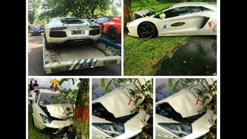 Mobil Lamborghini Raffi Ahmad kecelakaan di Malang