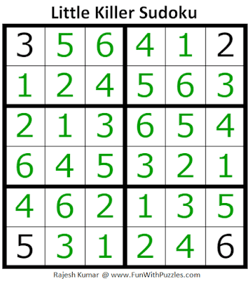 Answer of Little Killer Sudoku Puzzle (Mini Sudoku Series #114)