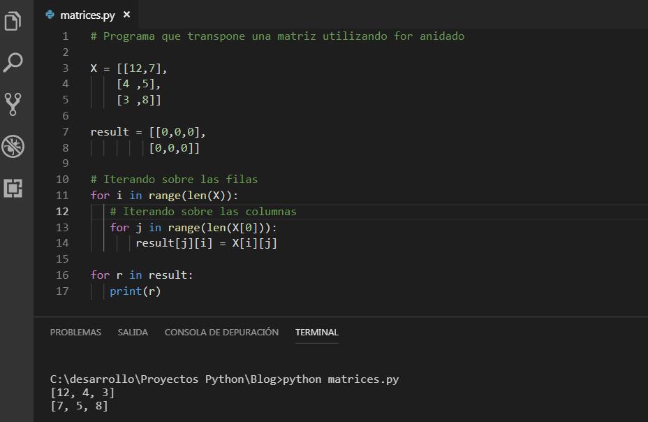Transponer matriz en python