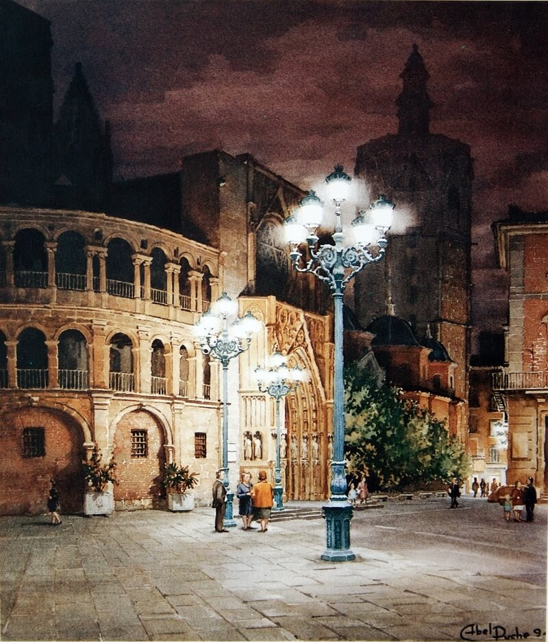 02-Abel-Puche-Watercolor-Paintings-of-the-City-at-Night-www-designstack-co