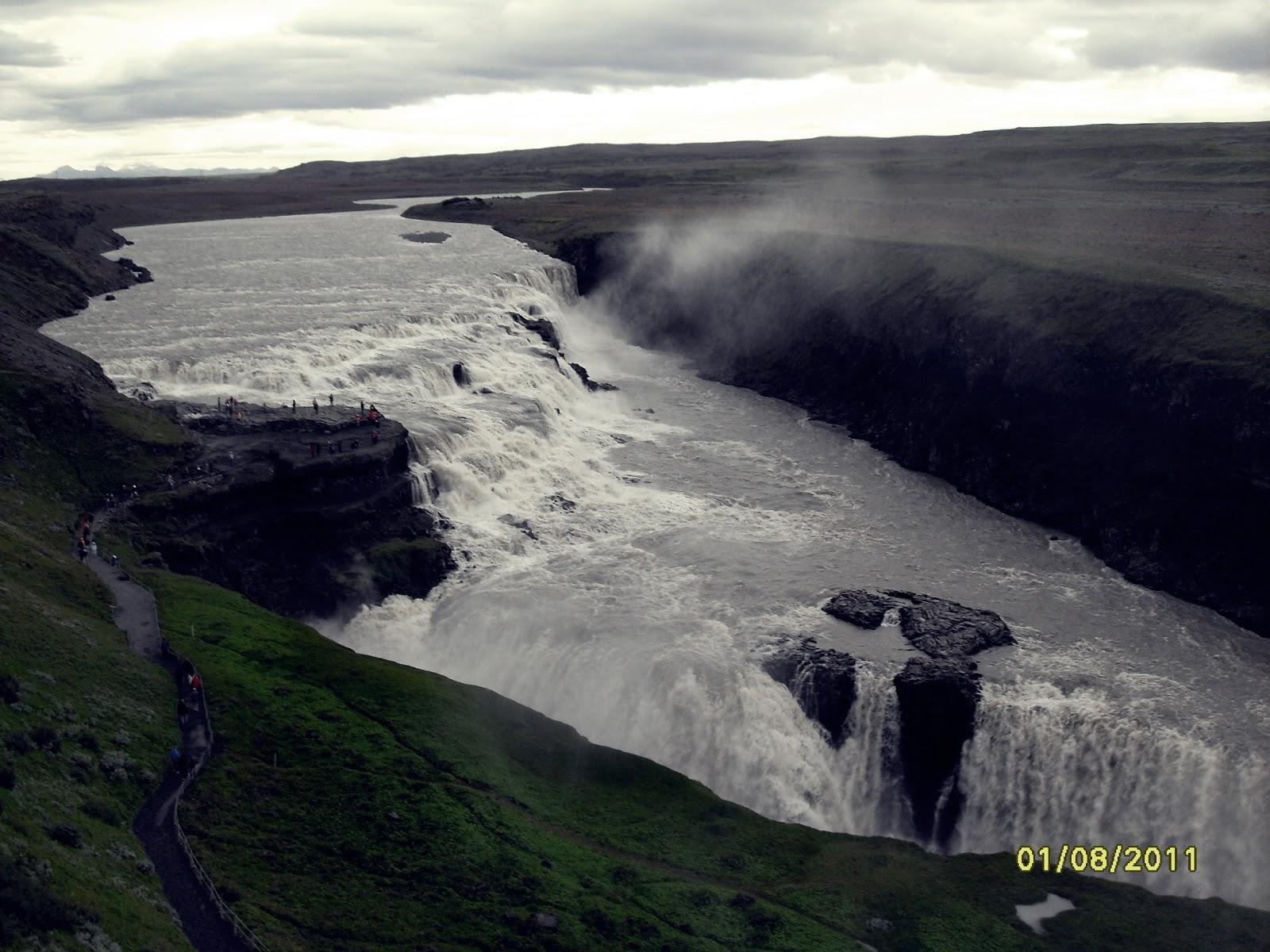 wodospad Gullfoss, Gullfoss, wodospad w Islandii, islandzki wodospad, golden circle