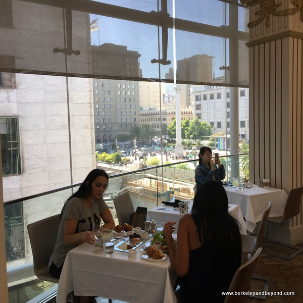 view of Union Square from The Rotunda tea room at Neiman Marcus in San Francisco