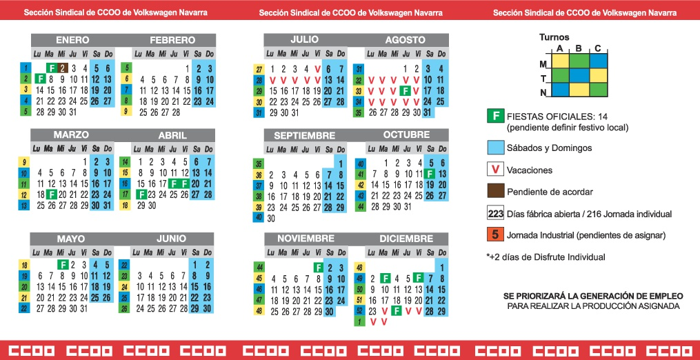 Calendario Laboral Navarra.Seccion Sindical Ccoo Volkswagen Navarra Calendario 2019