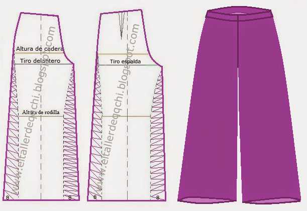 Taller N 50 Pantalon Dama Modelo Palazzo Moldes Modisteria Basica