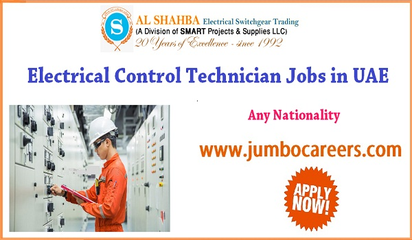 Electrical Control Technician Jobs in Sharjah UAE - August 2018