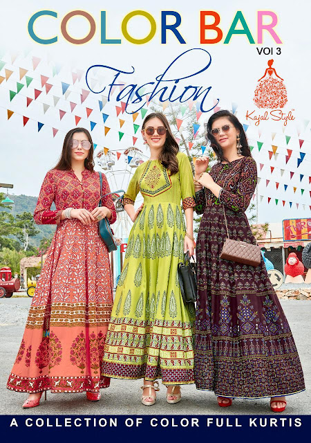 Kajal Style fashion Color bar vol 3 kurtis wholesaler