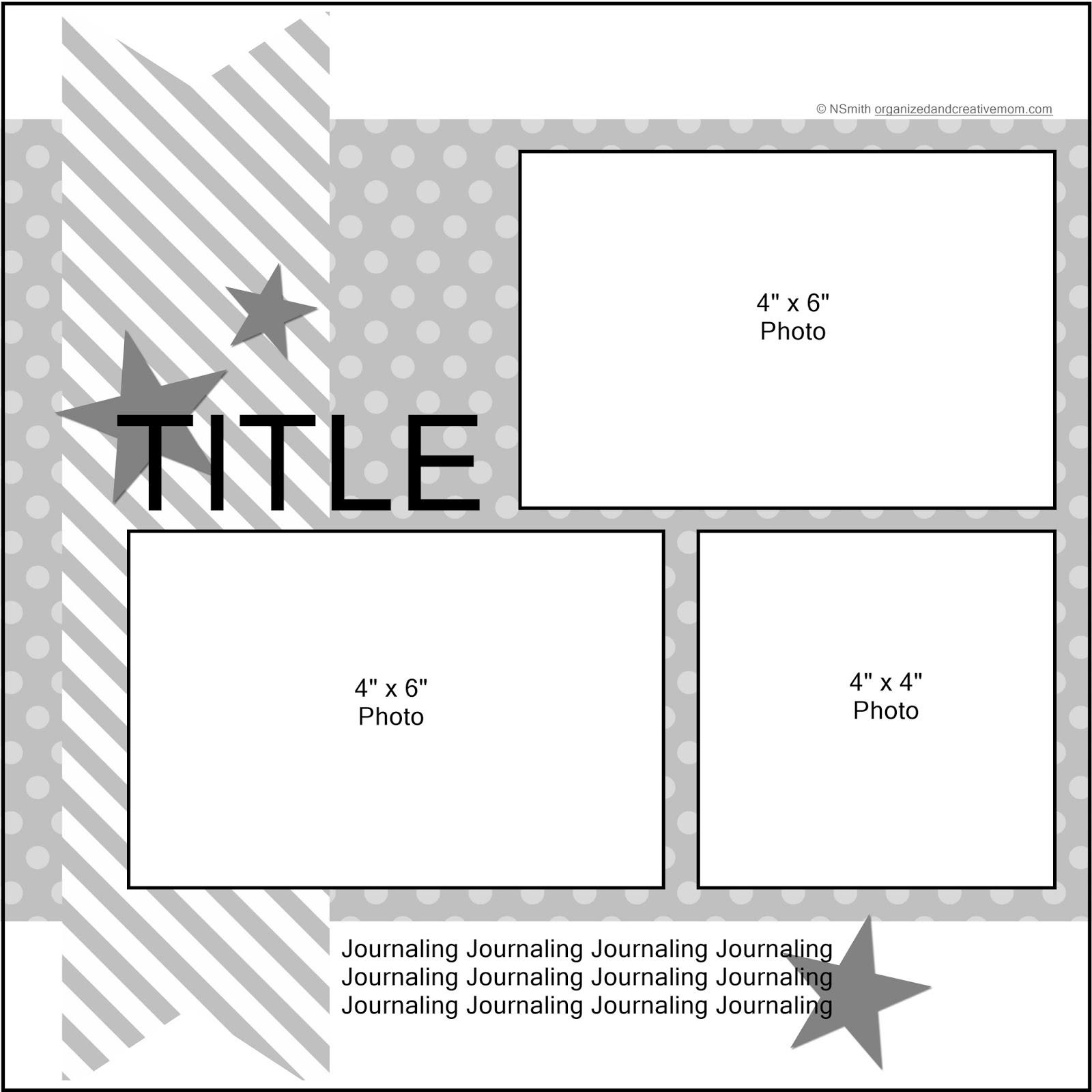 New Single Page 1 2 3 Scrapbook Sketch January 2018 Organized