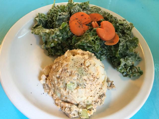 Pac Man salad and potato salad at Counter Culture vegan restaurant in Austin, Texas