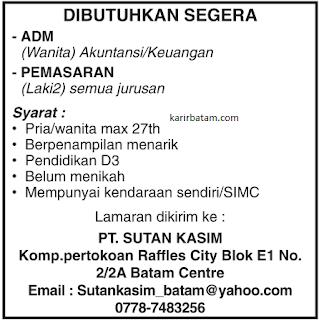 Lowongan Kerja PT. Sutan Kasim Batam Centre