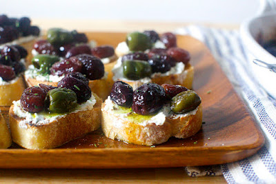 Olive and Grape Crostini | Land of Honey