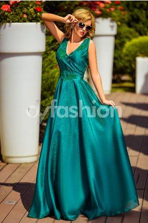 Rochie verde lunga de lux de nunti eleganta cu dantela