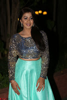 Nikki Galrani in Green Skirt  Top at Marakathamani music launch ~  Exclusive (24).JPG