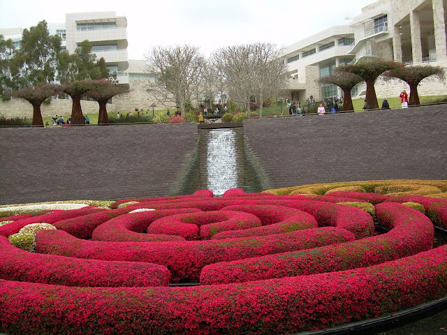 The azalea maze in bloom at the center of the The Center Garden central pool