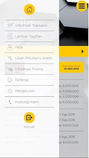 Tampilan menu Mega Credit Card Mobile