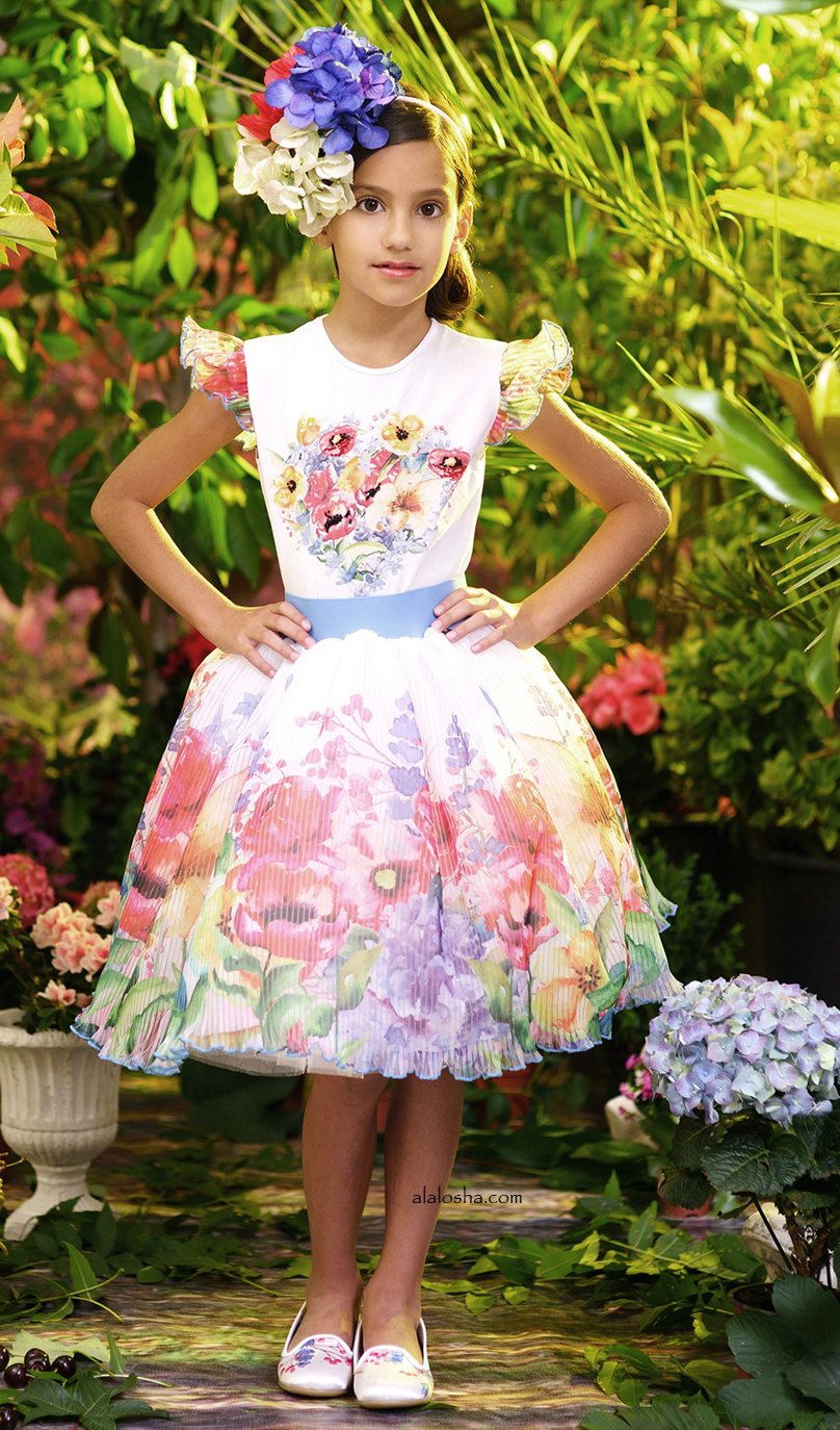 Girls Tulle Sleeve Top with Flowers