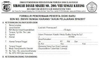 Download Contoh Formulir Psb Ppdb Jenjang Sd Mi Dan Smp Mts Tahun