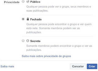 Privacidade dos grupos: aberto, fechado ou secreto