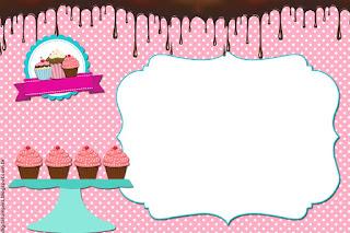 Para hacer invitaciones, tarjetas, marcos de fotos o etiquetas, para imprimir gratis de Chicas Haciendo Cupcakes.
