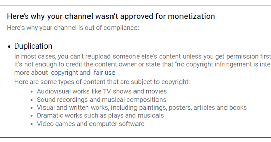 YouTube's Excuse for Not Being Approved for Monetization