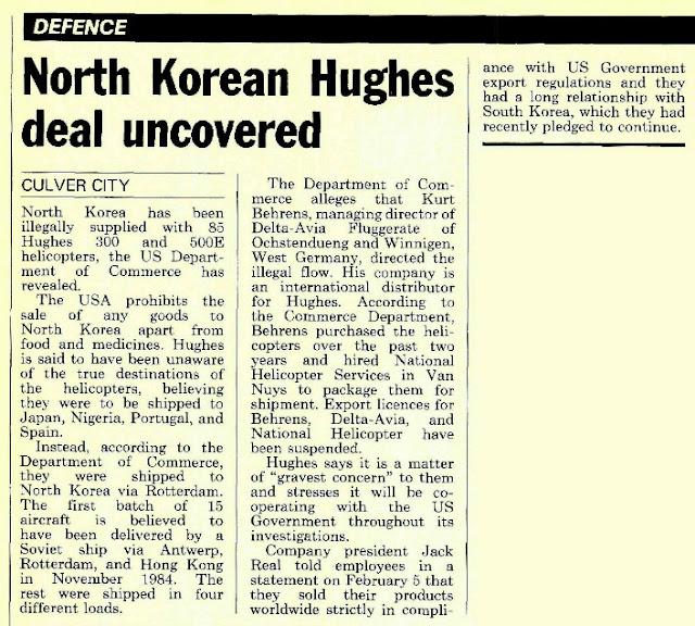 Trecho do jornal publicado nos Estado Unidos tratando do desvio de 85 unidades do Helicoptero Hughes 500 para a Corei do Norte
