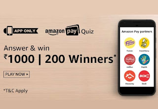 amazon pay quiz answer and win today, amazon pay partners quiz answer