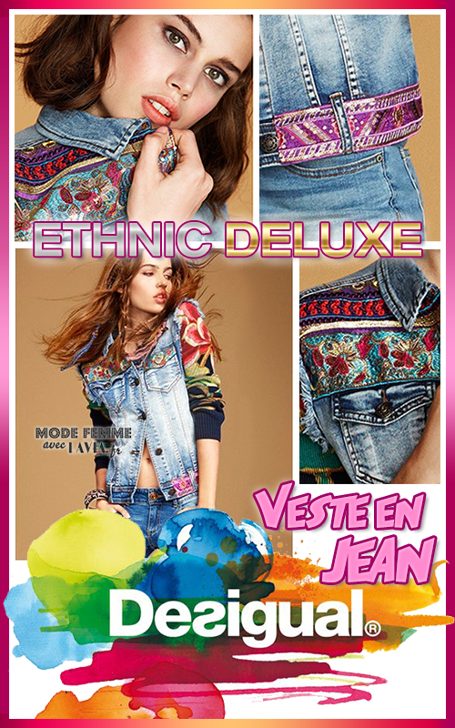 Veste en jean bleu Ethnic et Exotic Deluxe DESIGUAL