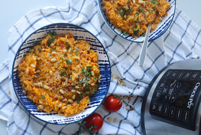 Pressure-Cooker Tomato and Saffron Risotto with Toasted Pine Nuts