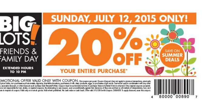 big lots coupon big lots friends amp family save 20 july 12 2015 10103