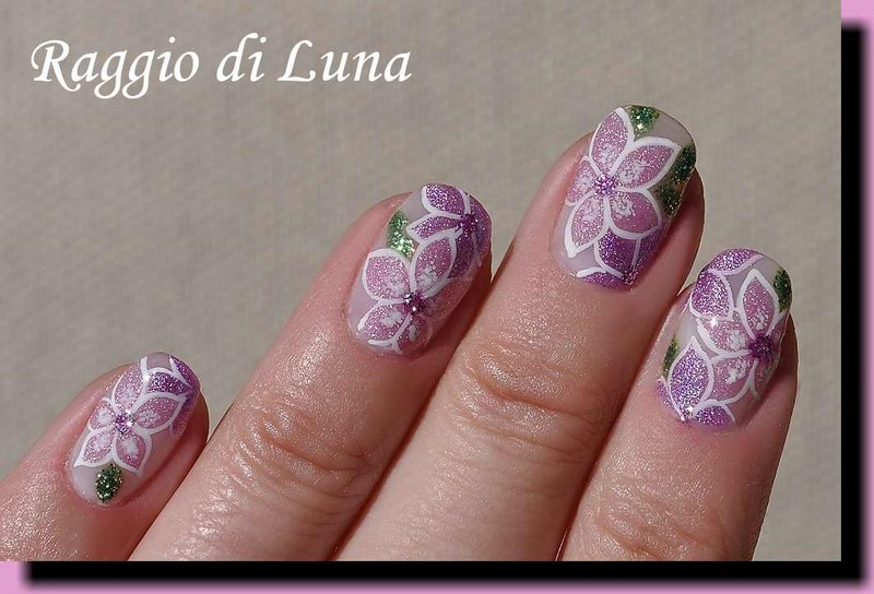 Raggio di Luna Nails: UV gel manicure with free hand nail art - Ligh ...