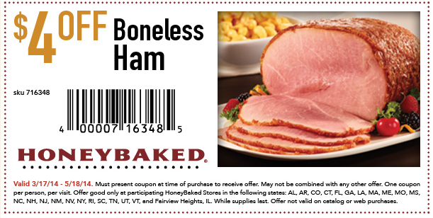 Honey baked ham discounts coupons