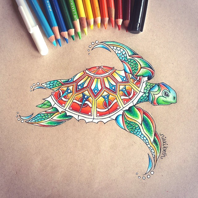 07-Multi-Colored-Turtle-Nikki-Beth-Animal-Portrait-Drawings-in-different-Styles-www-designstack-co