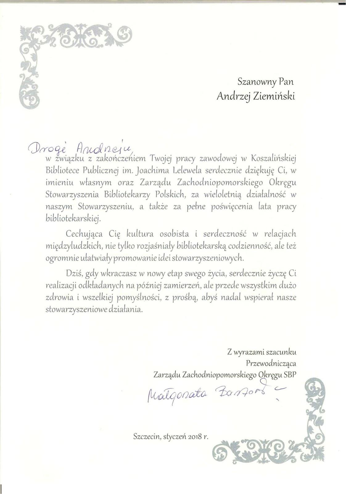 Uroczyste Przejście Na Emeryturę Dyrektora Koszalińskiej