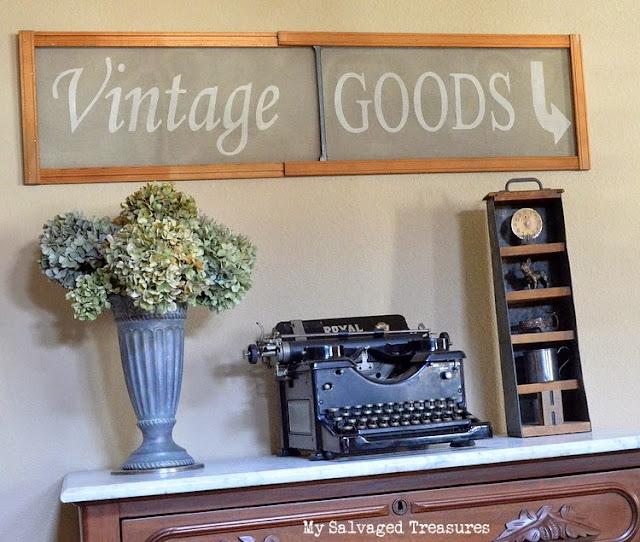 Custom stenciled vintage goods repurposed window screen
