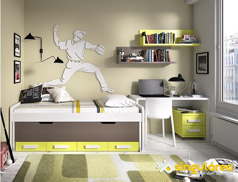 Dormitorio juvenil sin armario 1034 - Habitacion juvenil blanca ...