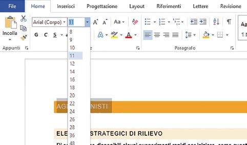 dimensioni font personalizzate word