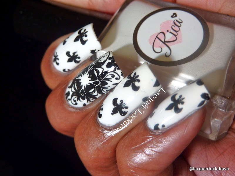Lacquer Lockdown - nail art stamping polishes, stamping polish, Rica Whiteout, Rica Whiteout review. Loja BBF, BBF07, fleur de lis nail art, floral nail art, abstract nail art