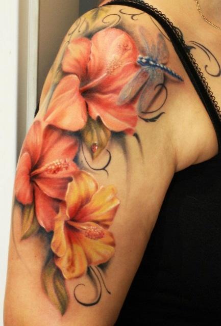 897bb62a7a901 Tropical Flower Sleeve Tattoo | Best Flower Site