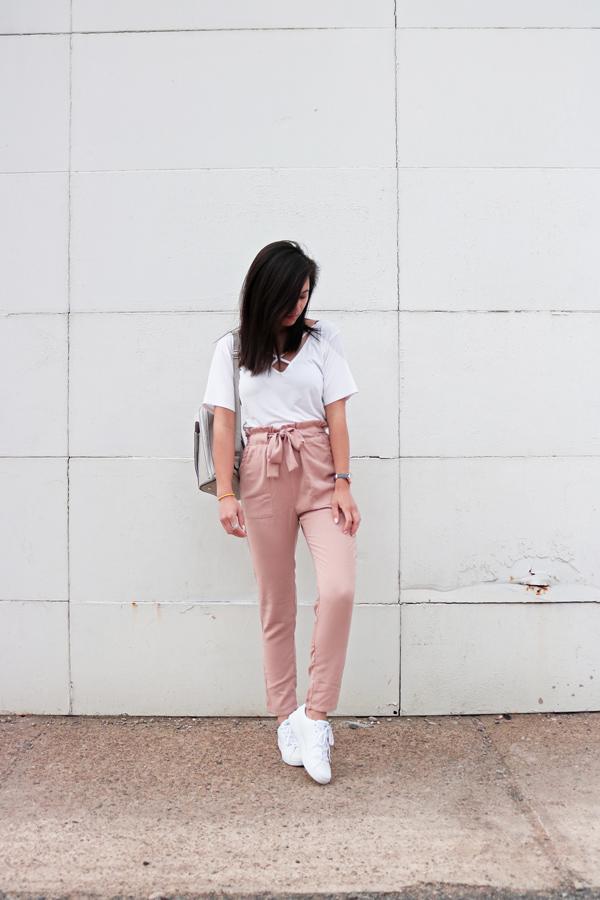 White Criss-Cross T-shirt, Blush Pink Pants, White Sneakers