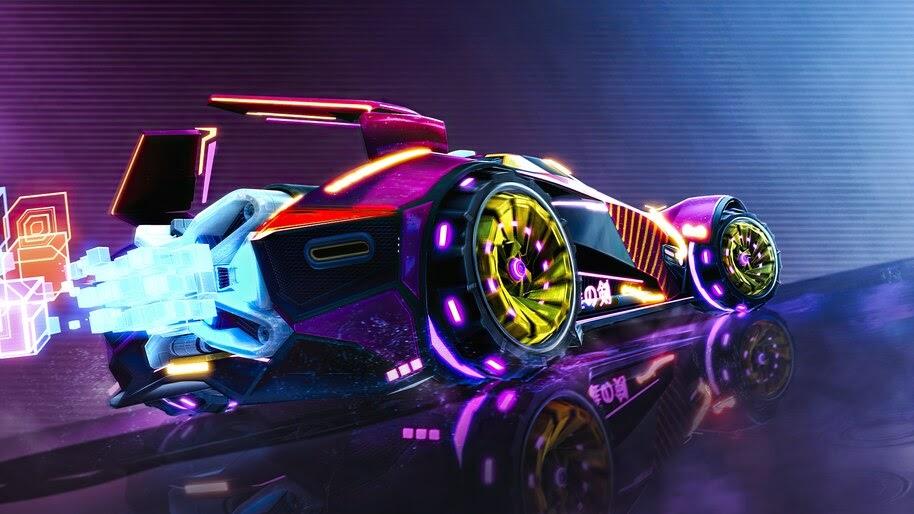 Neon, Car, Rocket League, Vaporwave, Digital Art, 4K, #6.2184