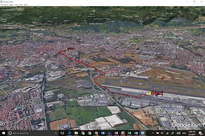 One possible walking route from Bergamo's Orio al Serio Airport to Bergamo's train station.