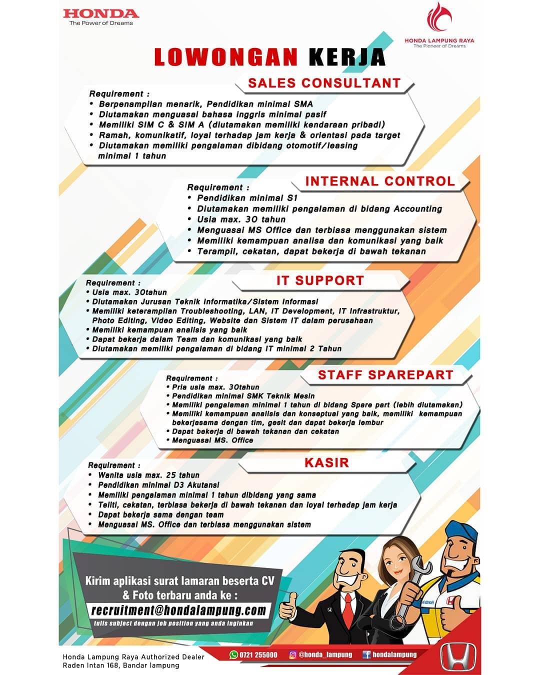 Lowongan Kerja Open Recruitment Honda Lampung Raya Desember 2018 Lampung Mei 2021 Karer Id