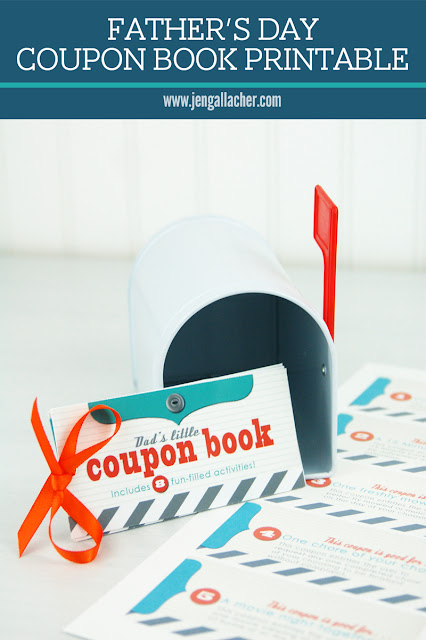 Father's Day Coupon Book Printable by Jen Gallacher from www.jengallacher.com. Includes link to printable. #fathersday #printable