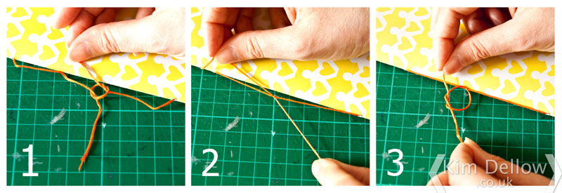 adding a knot to the DIY notebook