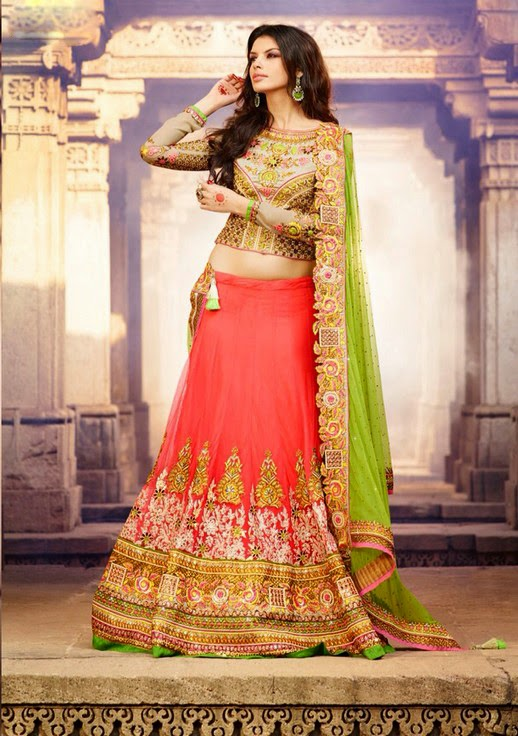 #Pink #Net #Lehenga With #Green Net #Dupatta & Heavy Zari & Resham Work