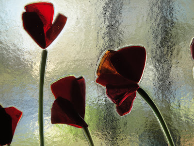 Fused Glass Red Poppy Petals in the sun by flutterbybutterfly