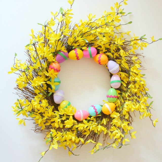 DIY Forsythia Easter wreath - update a store-bought wreath with Easter eggs!