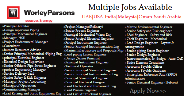 WorleyParsons Job Openings | UAE | USA | India | Malaysia |Oman