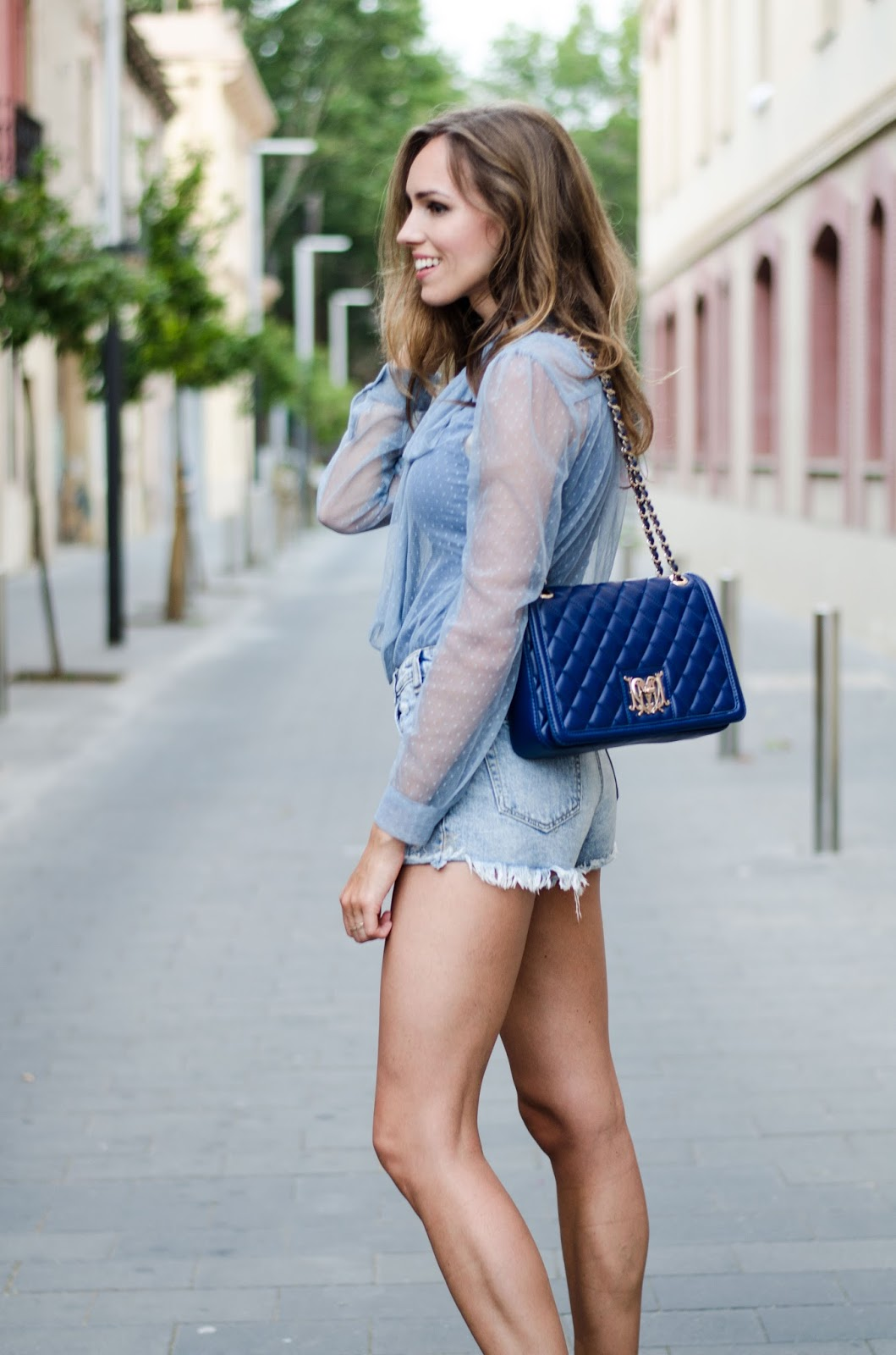 blue blouse denim shorts summer outfit
